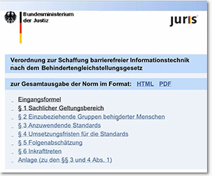 Screenshot aus der Website Behinderten-Informations-Technikverordnung