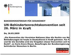 Screenshot aus der Website UN Behindertenrechtskonvention