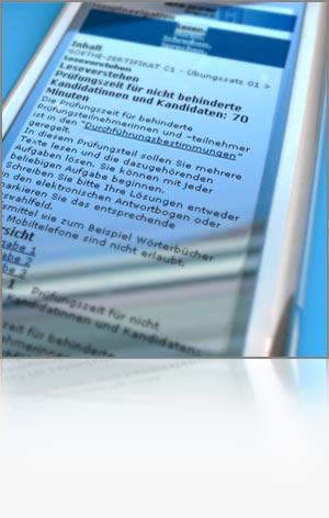 Detailfoto Wiedergabe eines Textes auf einem Handybildschirm