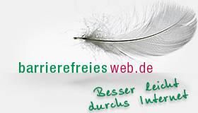 Logo barrierefreiesweb.de - zeigt eine schwebende Flaumfeder mit dem Slogan: Besser leicht durchs Internet.